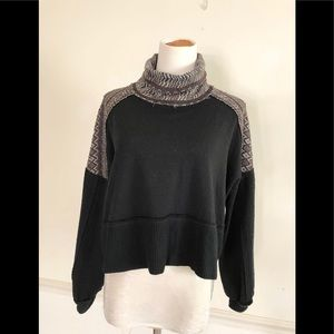 We The Free X S Black cropped cowl neck sweater